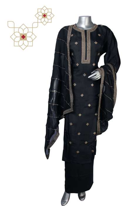 Semi-stitched Silk Zari Work Designer Salwar Kameez in Black - R157-SPR612A