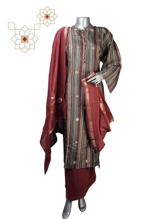 Raw Silk Semi-stitched Salwar Kameez In Multi & Maroon - R157-SPR613