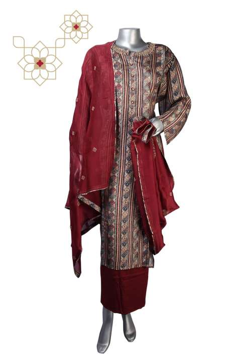Raw Silk Semi-stitched Salwar Kameez In Multi & Maroon - R157-SPR615