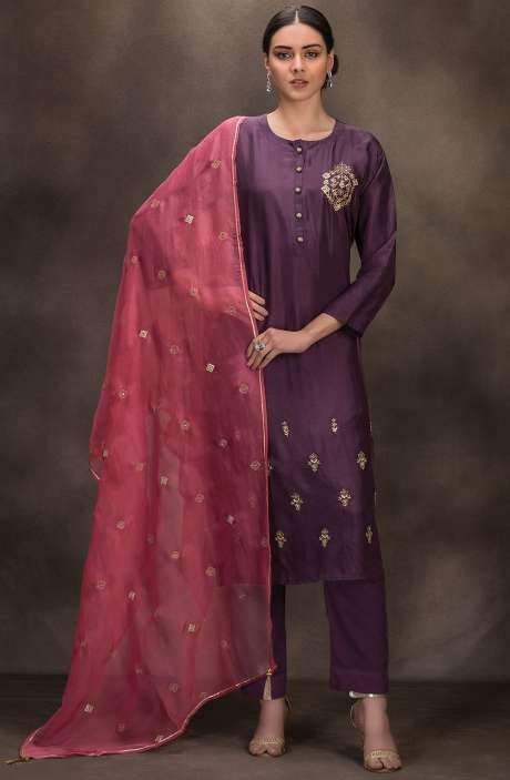 Designer Silk Semi-stitched Salwar Kameez In Purple - R157-SPR627A