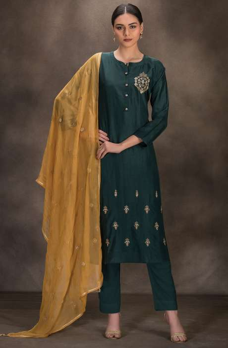 Designer Silk Semi-stitched Salwar Kameez In Bottle Green - R157-SPR627B