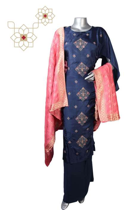 Blue Exclusive Silk Semi-stitched Suit Sets with Banarasi Dupatta - R157-SPR630