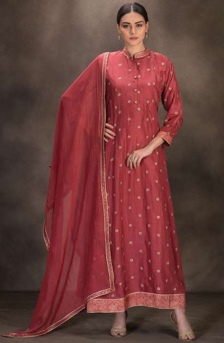 Designer Silk Stitched Anarkali Suit with Dupatta In Pink - R157-SPR639A