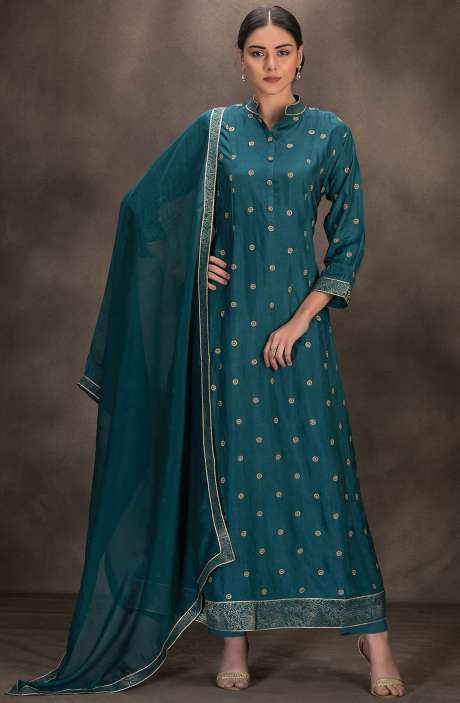 Designer Silk Readymade Anarkali Suit with Dupatta In Firozi - R157-SPR639B