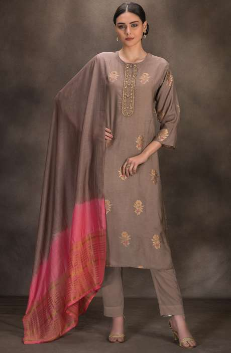 Designer Silk Jacquard Semi-stitched Salwar Kameez In Brown - R157-SPR641A
