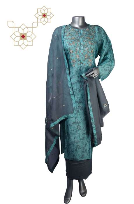 Raw Silk Semi-stitched Salwar Kameez In Turquoise - R157-SPR647
