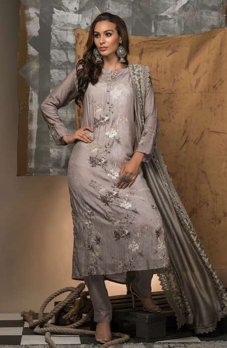 Semi-stitched Grey Designer Modal Cotton Suit Set with Shantoon Dupatta - R157-SPR681
