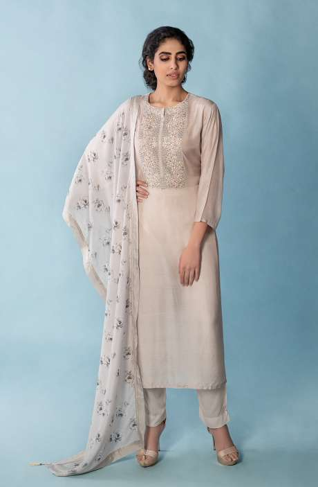 Semi-stitched Modal Cotton Salwar Suit Set In Grey with Digital Printed Dupatta - R157-SPR699