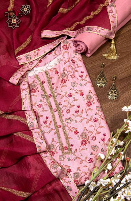 Modal Silk Semi-stitched Digital Print Suit Set In Mauve with Beautiful Organza Dupatta - R157-SPR779