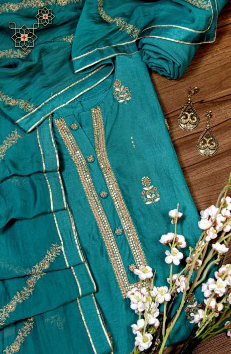 Modal Silk Semi-stitched Embellished Suit Set In Firozi with Beautiful Organza Dupatta - R157-SPR789A