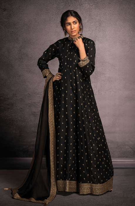 Designer Partywear Readymade Silk Gown In Black - R157-SPR801A