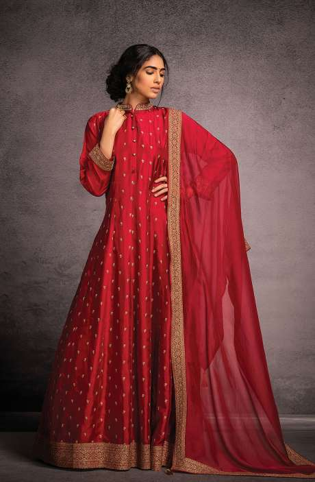 Designer Partywear Readymade Silk Gown In Rose Red - R157-SPR801B
