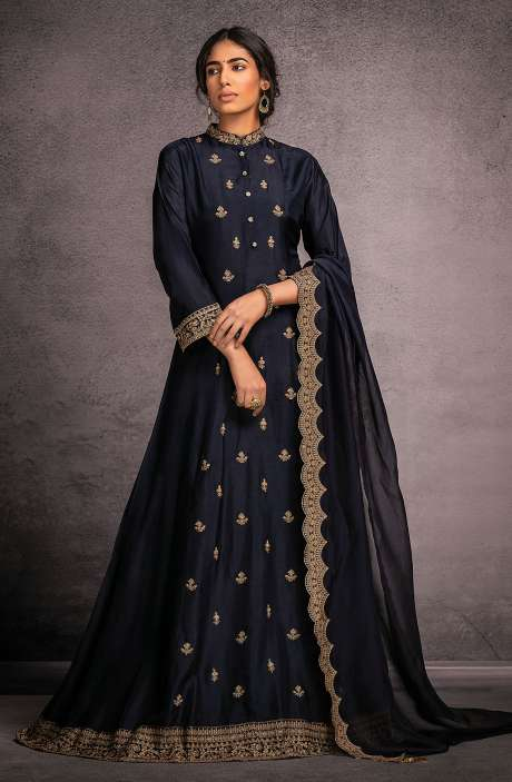 Designer Partywear Readymade Silk Gown In Blue - R157-SPR802A
