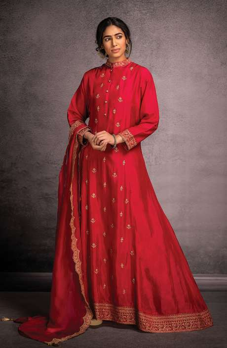 Designer Partywear Readymade Silk Gown In Rose Red - R157-SPR802B
