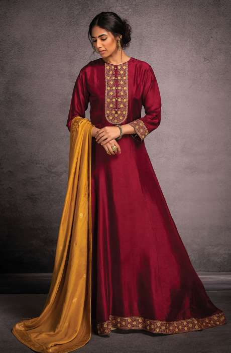 Designer Partywear Readymade Silk Gown In Wine - R157-SPR803A