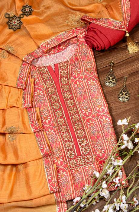 Modal Silk Semi-stitched Embellished Suit Set In Peach-Multi with Beautiful Organza Dupatta - R157-SPR809