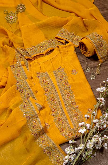 Designer Russian Silk Semi-stitched Salwar Kameez In Yellow with Organza Dupatta - R157-SPRKASHMIRIB