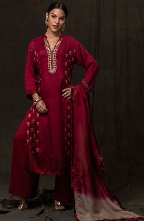 Exclusive Ready-to-Wear Embellished Work Satin Silk and Glazed Cotton Salwar Suit Sets In Maroon - R157-SPRTFJW