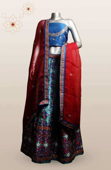 Silk Patola Printes with Zari & Sequins Work Designer Lehenga In Multi & Royal Blue - R166-C550