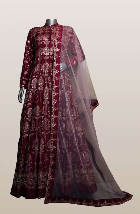 Magenta Silk Foil Prints and Cutdana Work Designer Readymade Gown (Made-to-Order) - R166-D0463