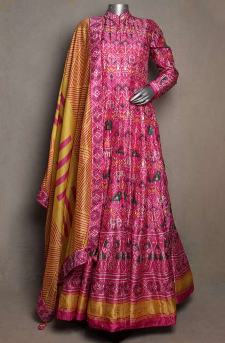 Silk Patola Print Readymade Pink Gown with Mustard Dupatta - R166-JSK16