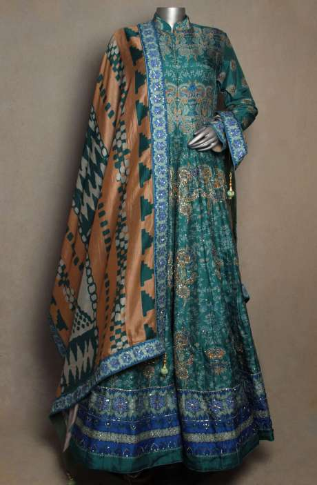 Readymade Patola Print Blue Silk Heavy Gown - R166-JSK16D