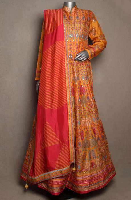 Readymade Silk Embellished Mustard Gown with Pink Dupatta - R166-JSK20A