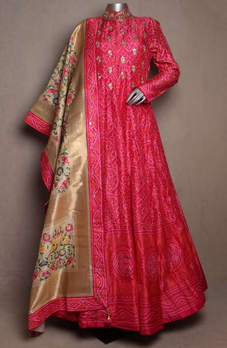 Stitched Heavy Partywear Pink Silk Gown with Multicolor Dupatta - R166-JSK30A