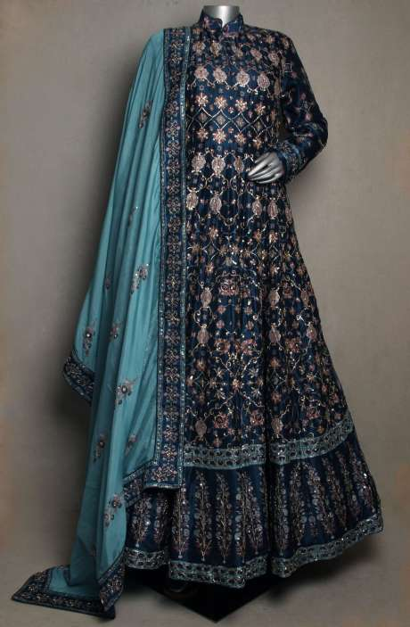 Wedding Collection Blue Silk Embellished Stitched Gown with Dupatta - R166-JSK32