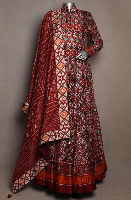 Patola Print Maroon & Grey Silk Stitched Gown - R166-JSK35A