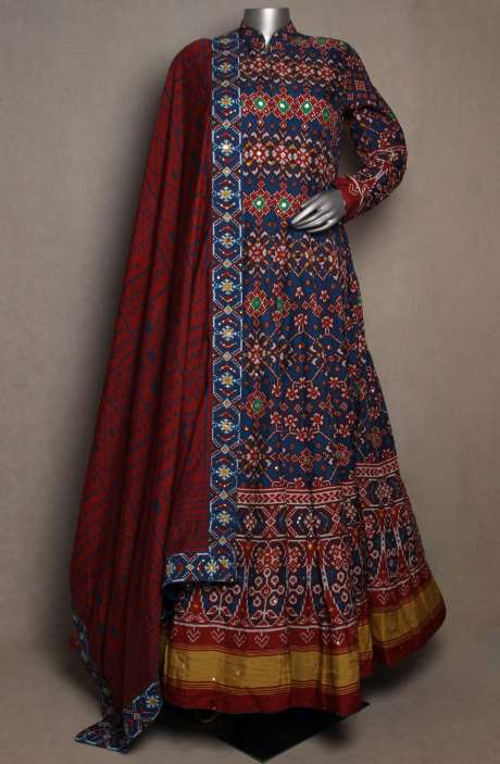 Designer Patola Print Blue Silk Readymade Gown with Maroon Dupatta - R166-JSK35C