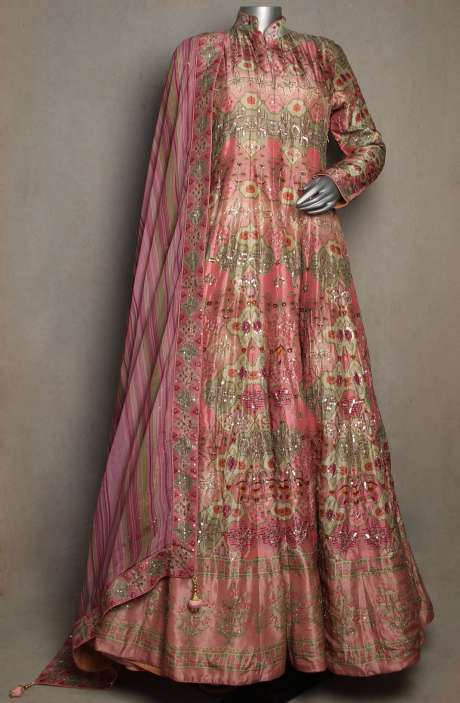 Readymade Wedding Collection Heavy Pink Silk Gown with Dupatta - R166-JSK37