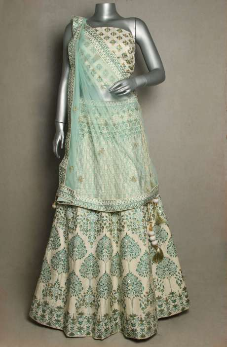 Wedding Collection Off White Silk Lehenga with Pista Green Net Dupatta - R166-JSK41B