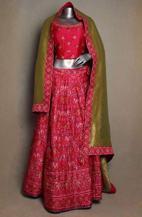 Bridal Collection Gorgeous Pink Silk Stitched Lehenga with Mehndi Green Dupatta - R166-JSK50