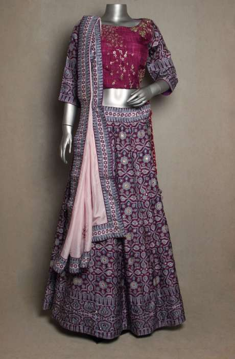Stitched Magenta Silk Lehenga with Baby Pink Dupatta - R166-JSK51