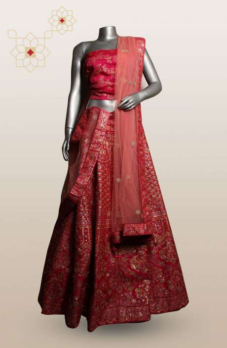 Pink Customized Zari & Sequins Work Bridal Designer Lehenga with Choli (Made-to-Order) - R166-R0482
