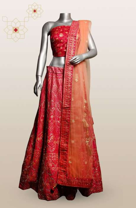 Magenta Silk Embellished Designer Bridal Semi-Stitched Lehenga with Choli - R166-R0489