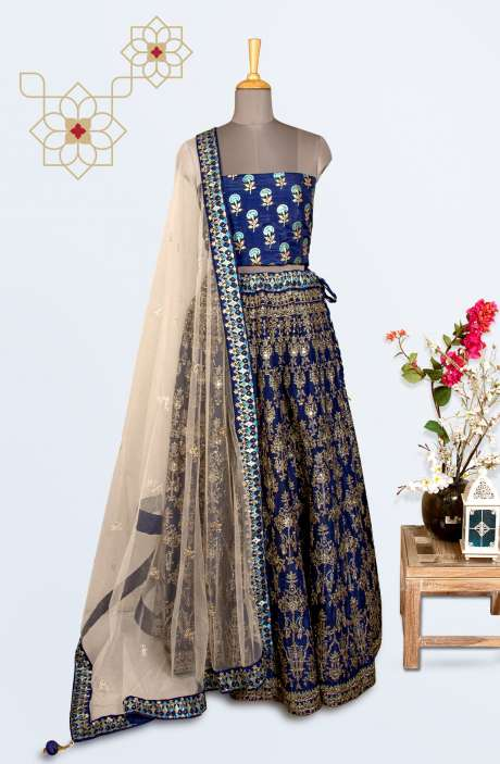 Blue Designer Lehenga with Choli - R166-R0493B