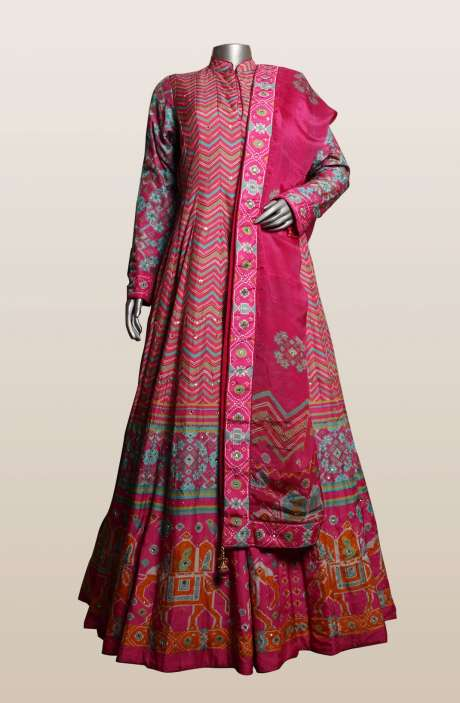 Pink Patola Prints Silk Designer Heavy Gown - R166-S0453