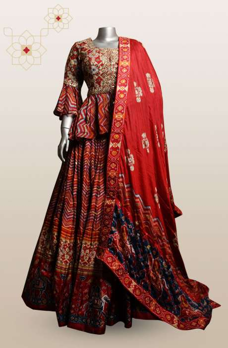 Multicolor Silk Stitched Lehenga with Bell Sleeve Blouse - R166-S0463