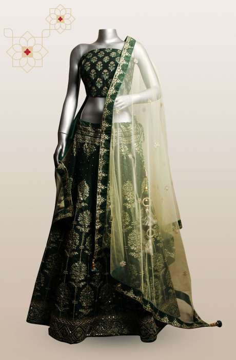Bottle Green Silk Printed with Zari, Cutdana & Sequins Work Designer Lehenga - R166-T0538A
