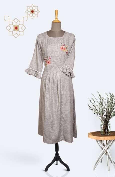 Readymade Cotton Trendy Kurti In Grey - R167-11447KA