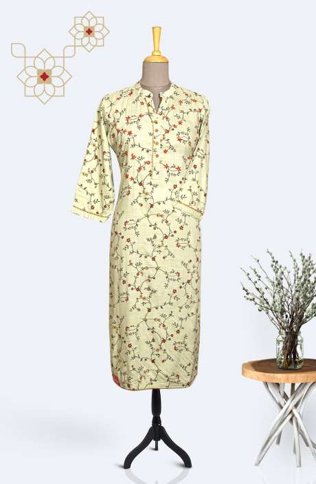 Readymade Cotton Printed Trendy Kurti In Pista Green & Multi - R167-11575KA