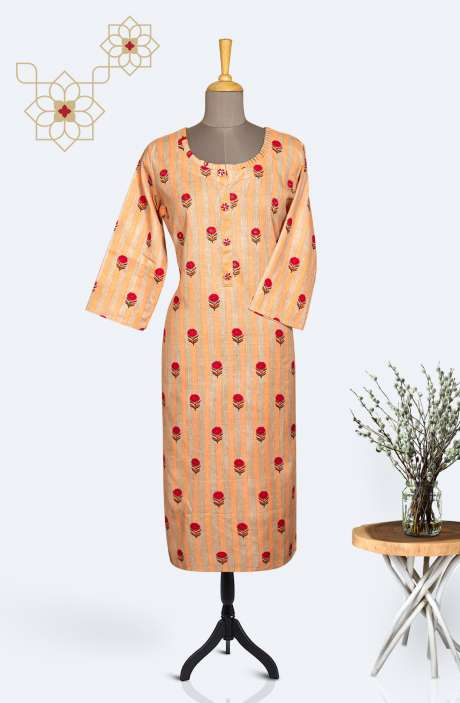 Readymade Cotton Printed Kurti In Beige & Peach - R167-11640KA