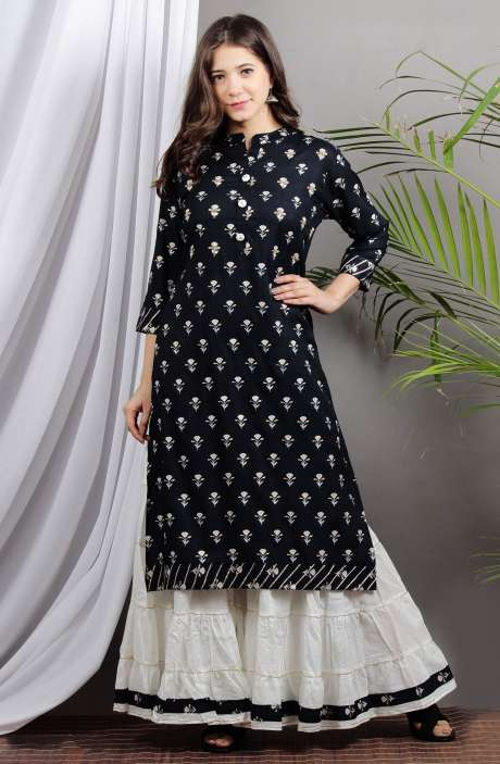 Cotton Navy Blue Printed Stitched Kurta with Palazzo for Girls - R167-11647K