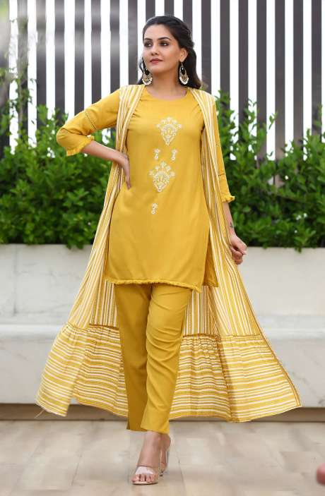 Cotton Mustard Readymade Jacket Style Kurta with Pants for Women - R167-11676K