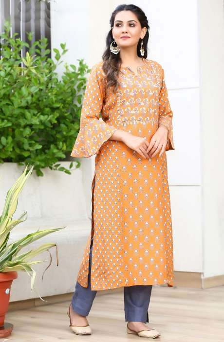 Cotton Orange Printed Stitched Straight Kurta with Pants for Women - R167-11678K