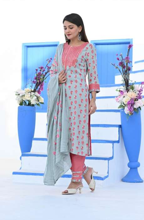 Cotton Printed Readymade Casual Kurti Sets for Women - R167-11820K