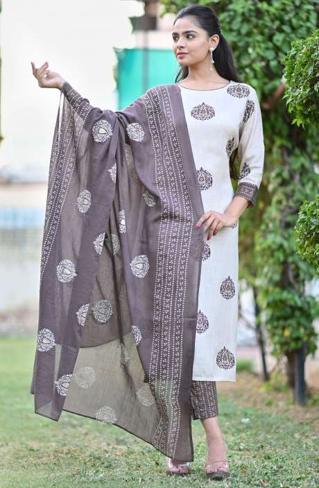 Cotton Beige Printed Stitched Kurti Sets for Women - R167-11827K