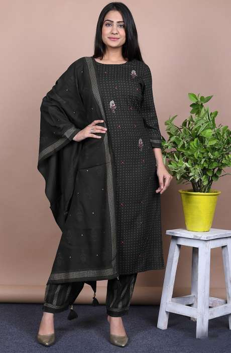 Cotton Black Dot Printed Stitched Kurti Sets for Women - R167-11913K